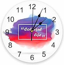 Wall clock Simple Watercolor Blue Purple Red PVC