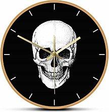 Wall Clock Skull With Black Background Acrylic
