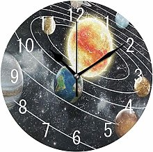 wall clock Solar System Planet Space Star Bedroom