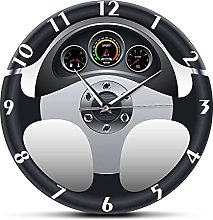 Wall Clock Sport Car Steering Wheel And Dashboard