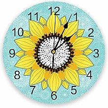 Wall Clock Sunflower And Mandala Teal Green Wall