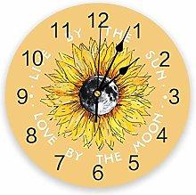 Wall Clock Sunflower And Moon Yellow Wall Clock