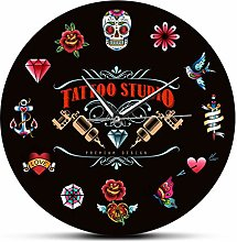 Wall Clock Tattoo Studio Premium Design Black