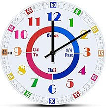 Wall Clock Telling Time Learing Clock Wall Watch