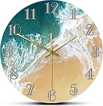 Wall Clock Tropical Ocean With Big Waves Scenery