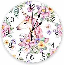 Wall Clock Unicorn Flowers Green Pink Purple