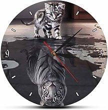 Wall Clock Wall Clock Tabby Kitten Reflection