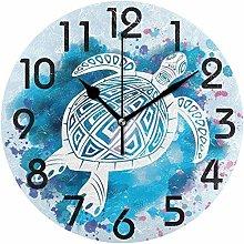 Wall Clock Wall Clock Trendy Sea Turtle In Tattoo