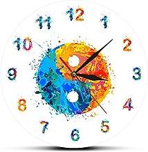 Wall Clock Watercolor Ying Yang Symbol Boho Art