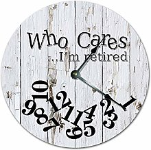 Wall Clock, Who Cares I'm Retired Wood Design