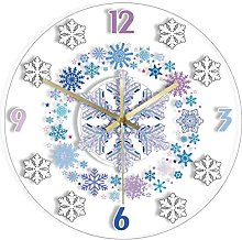 Wall Clock Winter Design Snowflakes Art Printed