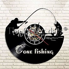 Wall clock with led to go fishing vinyl record