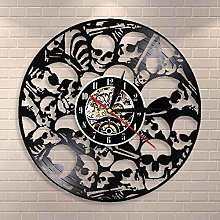 Wall Clock with Skull Death Vinyl Record Vintage