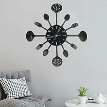 Wall Clock with Spoon and Fork Design Black 40 cm