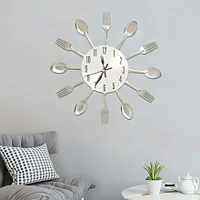 Wall Clock with Spoon and Fork Design Silver 31 cm