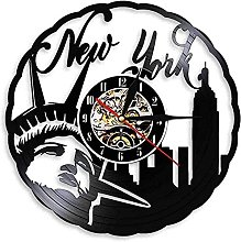 Wall Clock with Vinyl Record New York Statue of