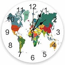 Wall Clock World Map Earth Green Wall Clock