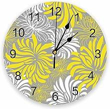 Wall Clock Yellow Floral Texture Wall Clock