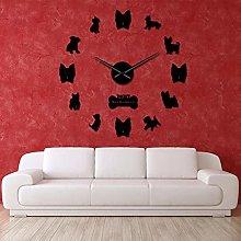 Wall Clocks Large DIY 3D Frameless Wall decor