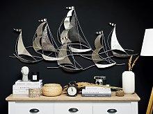Wall Decor Boats Silver Metal Wall Art Modern Style