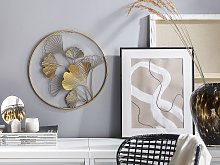 Wall Decor Metal Golden 45 cm Leaves in Frame Wall