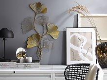 Wall Decor Metal Golden 79 cm Leaves Wall Art