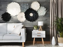 Wall Decoration Black Feathers with Seashell Round