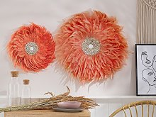 Wall Decoration Coral Red Feathers with Seashell