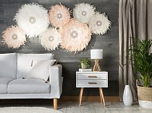 Wall Decoration Cream Feathers with Seashell Round