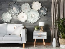 Wall Decoration Dark Grey Feathers with Seashell