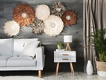 Wall Decoration Light Brown Feathers with Seashell