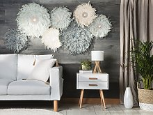 Wall Decoration Light Grey Feathers with Seashell