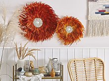 Wall Decoration Orange Feathers with Seashell