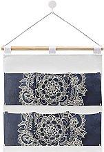 Wall Hanging cotton linen storage bag,Cream Floral
