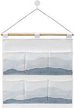 Wall Hanging cotton linen storage bag,Indigo