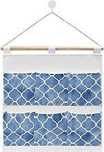 Wall Hanging cotton linen storage bag,Indigo Blue
