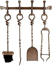 Wall Hanging Fire Tools Set - Antique Copper