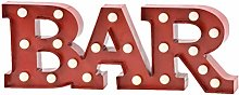 Wall Hanging Light Up BAR Sign Red With White