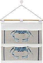 Wall Hanging Storage Bag,Indigo Ocean Blue Crab