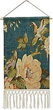 Wall Hanging Tapestry,Teal vintage floral bird