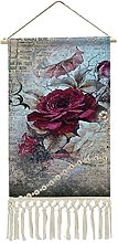 Wall Hanging Tapestry,Victorian Rose Ephemera Wall