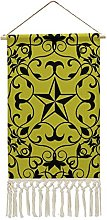 Wall Hanging Tapestry,Victorian Star Chartreuse