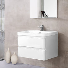 Wall Hung 2 Drawer Vanity Unit Basin Bathroom