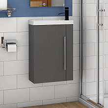 Wall Hung Cloakroom Sink Vanity Unit Grey Small