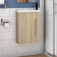 Wall Hung Cloakroom Sink Vanity Unit Oak Small