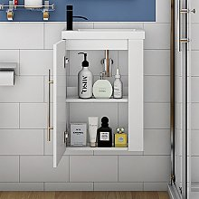 Wall Hung Cloakroom Sink Vanity Unit White Small