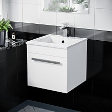 Wall Hung Gloss White 1 Drawer Vanity Unit Cabinet