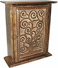 Wall Key Box Cabinet Tree of Life Design Hand