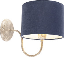 Wall Lamp Beige with 20cm Antique Blue Shade -