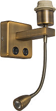 Wall lamp bronze incl. LED with reading arm -